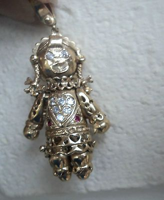 Vintage 9ct gold articulated rag doll pendant with clear stones vintage 9ct gold articulated rag doll pendant with clear stones c1960 mozeypictures Images