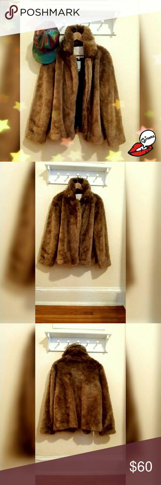 Faux Fur Jacket Tan, plush, super soft faux fur jacket. Never worn. Aritzia Jackets & Coats