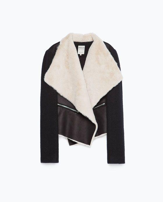 Image 8 de Veste en imitation peau lainée de Zara