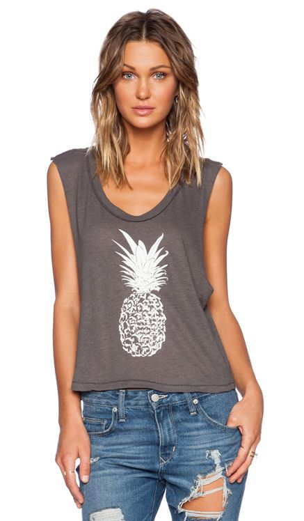 All Things Fabulous Pineapple Crop Muscle Tee in Charcoal from REVOLVEclothing