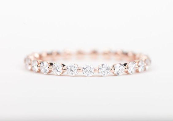 ZERTIFIZIERT  Diamant E-F VVS  VS Ehering 14K Rose von SundariGems