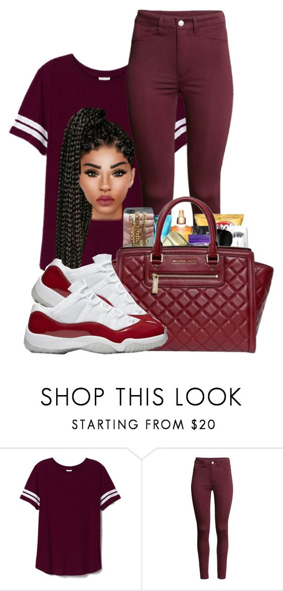 """Burgundy is beautiful"" by ballislife ❤ liked on Polyvore featuring Victoria's Secret PINK, H&M and Michael Kors"