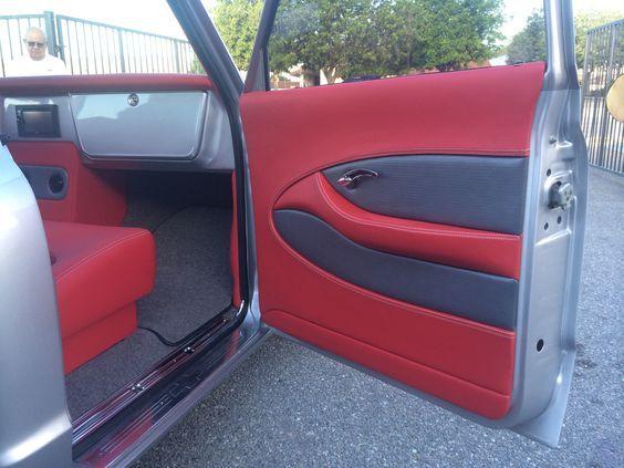 70 Chevy Truck Grey Silver Red Black Custom Interior Door Panels Dash Truck Interior Custom Interior Doors Panel Doors