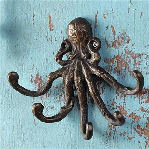 Giant Octopus Kraken Wall Mounted Cast Iron Key Or Coat Hook Hanger Nautical Decor Octopus Wall Hooks