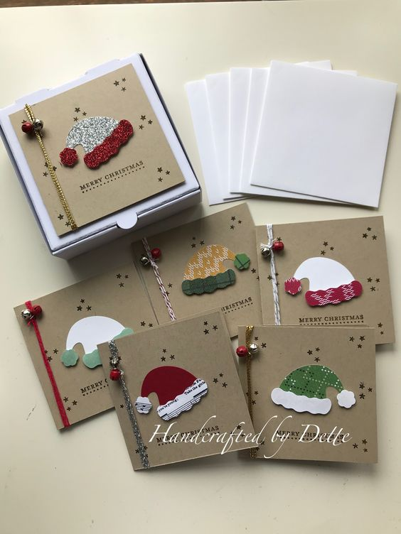 Decorated Pizza boxes and matching 3x3 cards w/envelopes. Santa hat punch. Products, are all from Stampin Up. Inspiration for the cards came from Crafty Caroline Creates, YouTube. Made by Bernadette, Handcrafted by Dette.