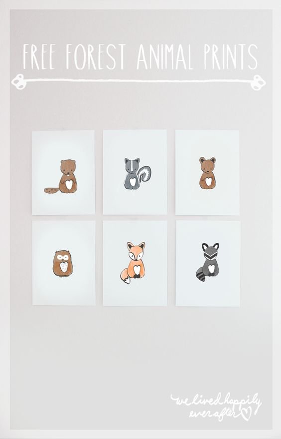 Print off these forest animals for a great addition to your woodland nursery decor!
