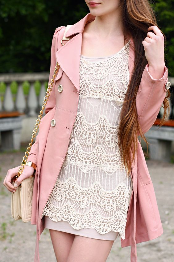 White lace dress &amp- Pink coat http://www.studentrate.com/fashion ...