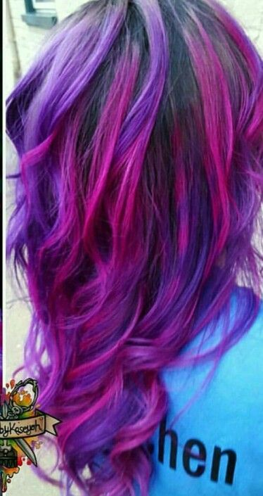 Pink purple dyed hair color