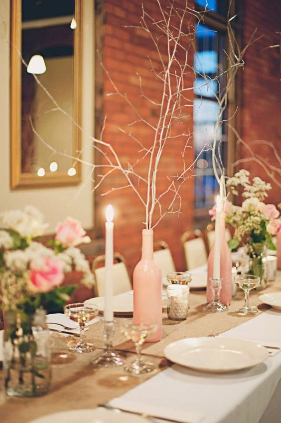 A winter wedding in watertown new york diy tablescape for Painted wine bottle wedding centerpieces
