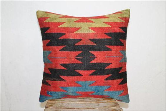 Tribal Kilim Pillow Anatolian Wool Pillows Throw pillow by SeCLara