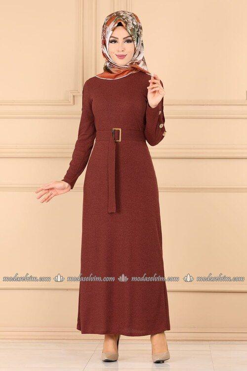 Modaselvim Elbise Dugmeli Triko Tesettur Elbise 5064ef311 Kiremit Elbise The Dress Moda Stilleri