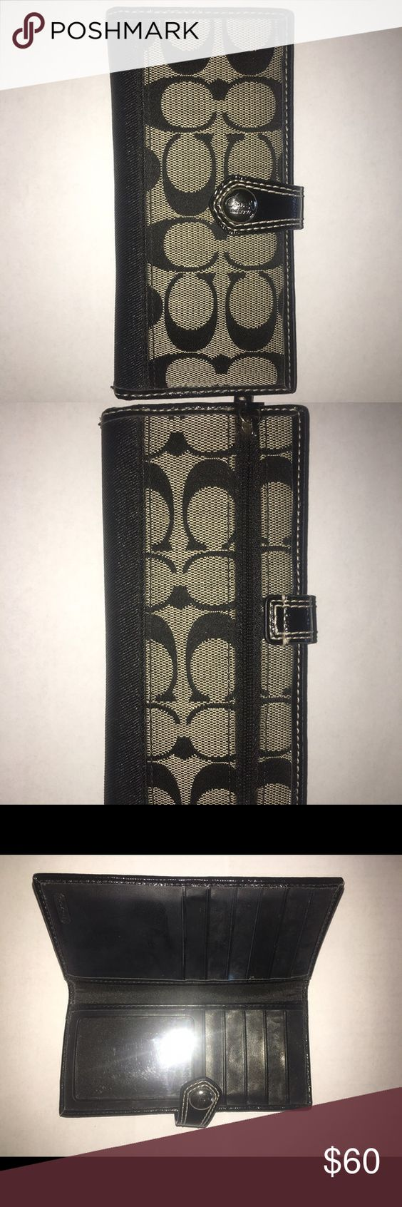 Coach wallet Logo wallet• coach wallet• in great shape• no rips or stains• button close • 11 card slots • slot for cash or other stuff Coach Bags Wallets