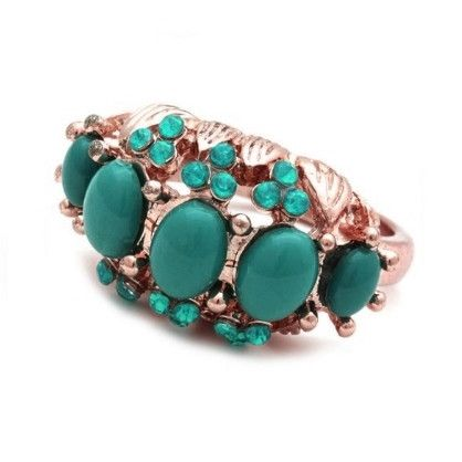 Chunky Gold Teal Ring
