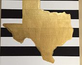 Hand-painted state of Texas on black & white striped canvas