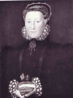 ELIZABETH LEYBURNE (1536 - 1567) married first, in 1555, Thomas Dacre, 4th baron Dacre of the North (c.1526-July 25, 1566). After his death she was secretly married to Thomas Howard, 4th duke of Norfolk (1538 - 1572) on January 29, 1567 at her mother's house in London. She died in childbed the following September and the child died also. Portrait: possibly the work c.1560 attributed to Hans Eworth and called the Duchess of Norfolk.