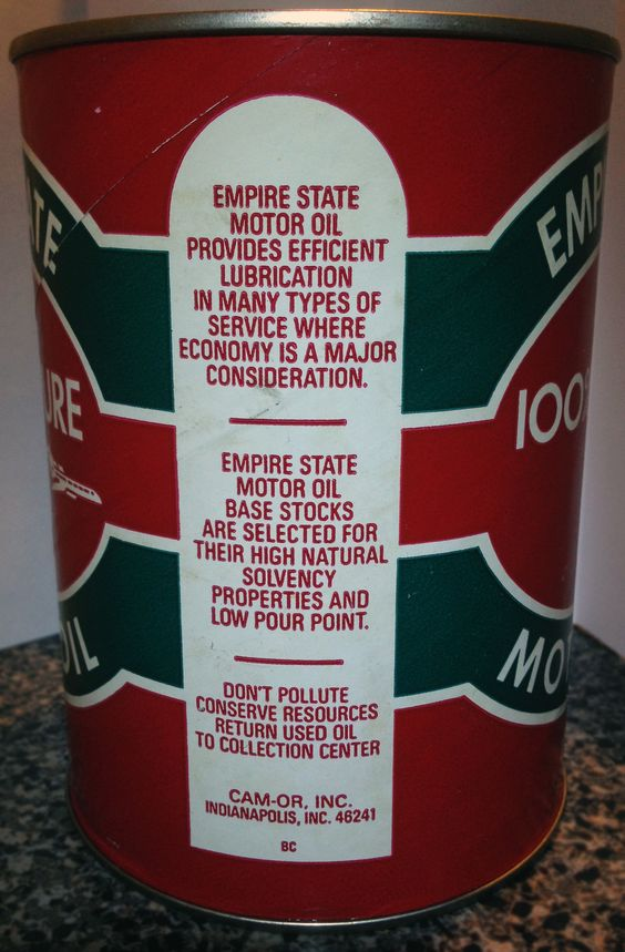 Empire State Motor Oil Can - Side