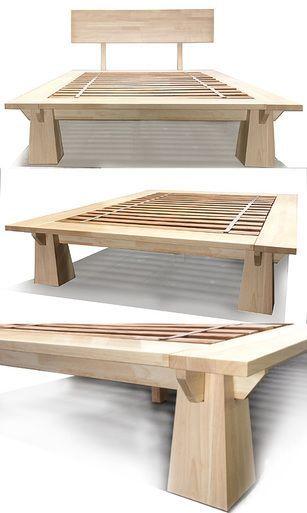 Tall Wakayama Platform Bed Natural Finish Wood Bed Frame