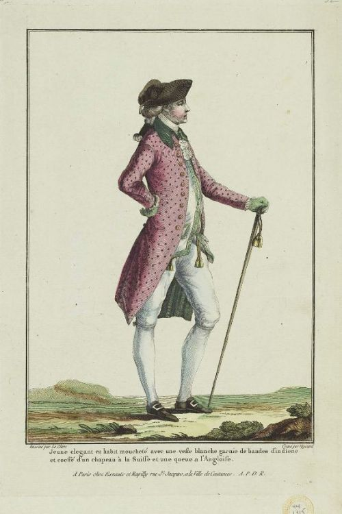 Gallerie des Modes, 1778. Wearing that spotty pink coat like a boss!