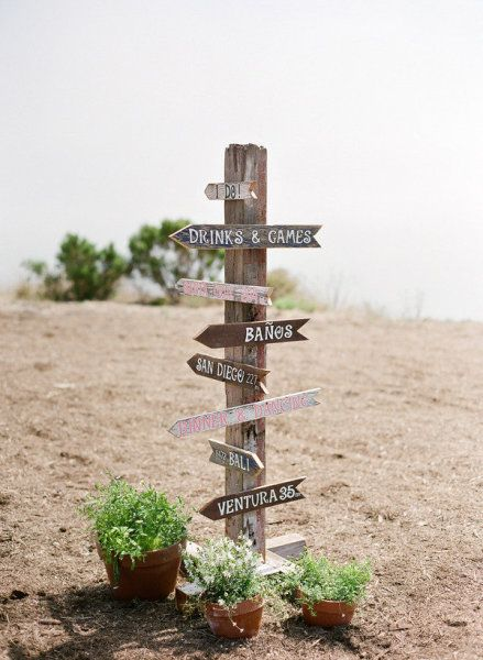 Love the idea of a sign pointing to all locations important to us (along with wedding events)