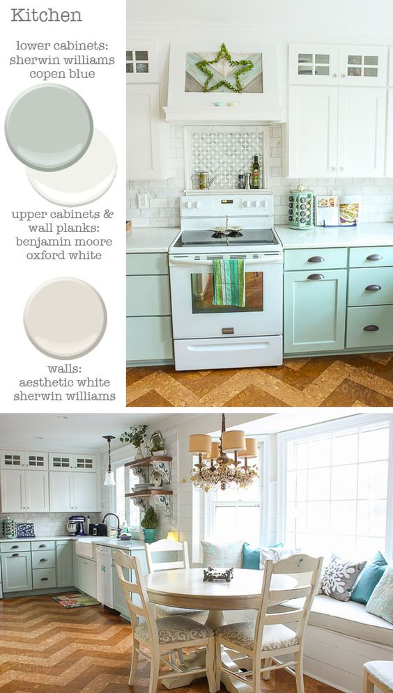 Kitchen cabinets sherwin williams copen blue and for Benjamin moore oxford white kitchen cabinets