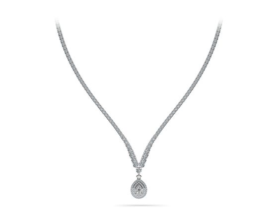 4 Prong Graduated V Diamond Necklace