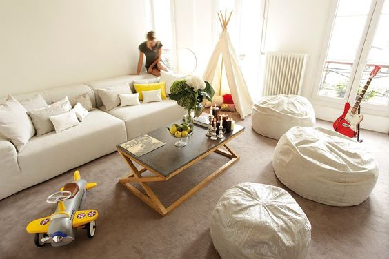 Minimal living room with bean bag seating