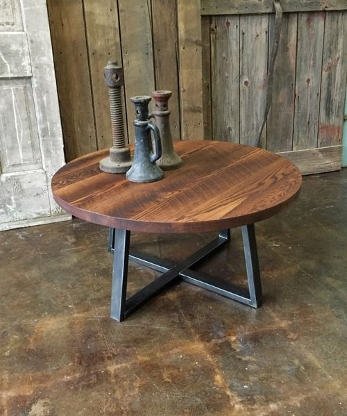Round Industrial Reclaimed Wood Coffee Table Round Industrial Coffee Table Round Coffee Table Rustic Coffee Table
