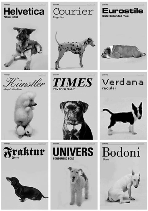 Dogs as typefaces
