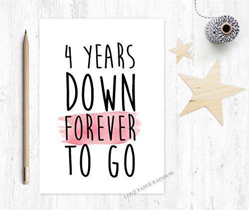 4th Wedding Anniversary Card 4th Anniversary Card 4 Years Down