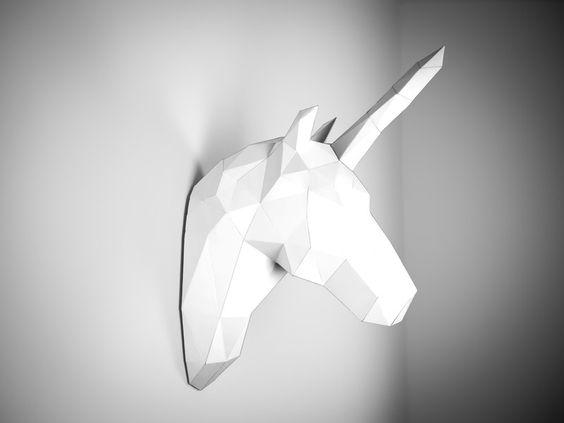 Geweihe & Trophäen - Einhorn Trophäe - ein Designerstück von Papertrophy bei DaWanda