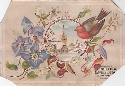 MAldaner & Frank Confectioners Bakers Springfiled Illinois Embossed c 1880s