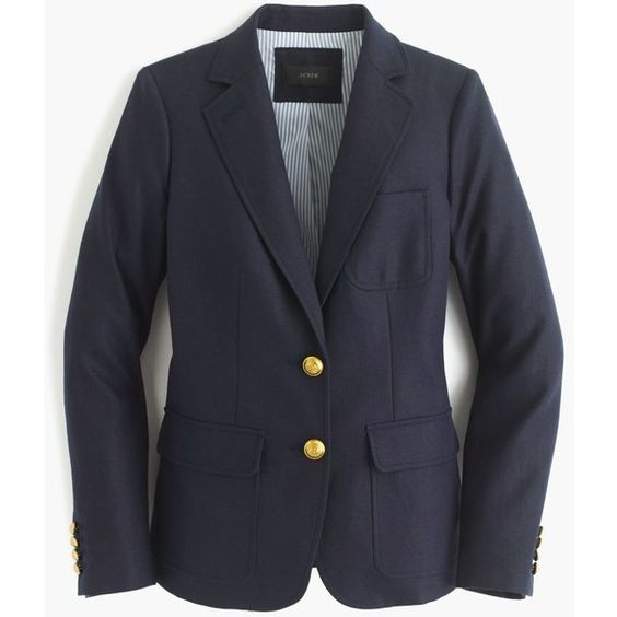 J.Crew Petite Rhodes Blazer ($210) found on Polyvore featuring women's fashion, outerwear, jackets, blazers, blazer, j.crew, petite, petite blazer, button jacket and j crew blazer: