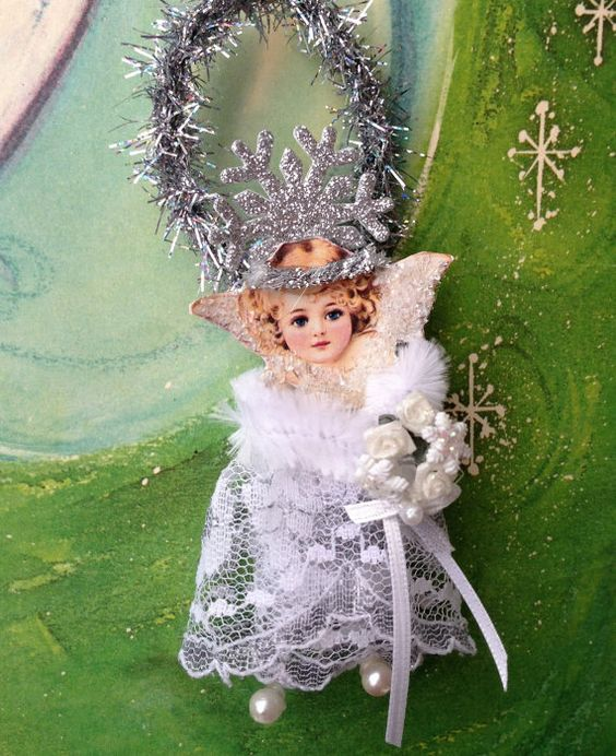 Angel Christmas Ornament  Vintage Photo Lace by sweetdaisyscloset