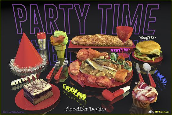 Party Time Neon Red - Appetizer Designs. Deliciously looking appetizer designs, food art created by 3D-Cuisines, creator of realistic looking 3D food models that make you feel hungry.