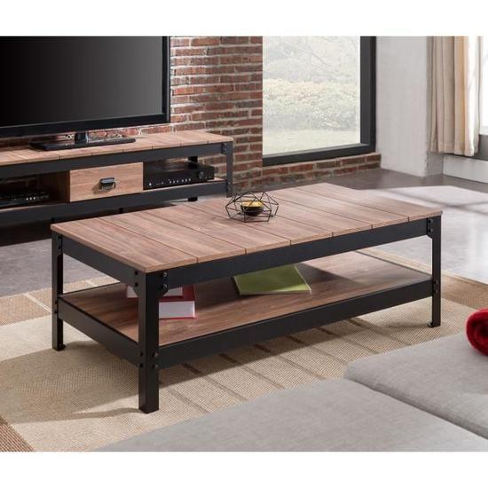 Industrie Table Basse Style Industriel Effet Bois Et Noir Mat L 117 X L 59 Cm Table Basse Style Industriel Table Basse Table Basse Industrielle