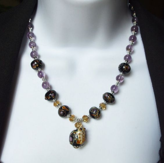 lampwork and amethyst #necklace