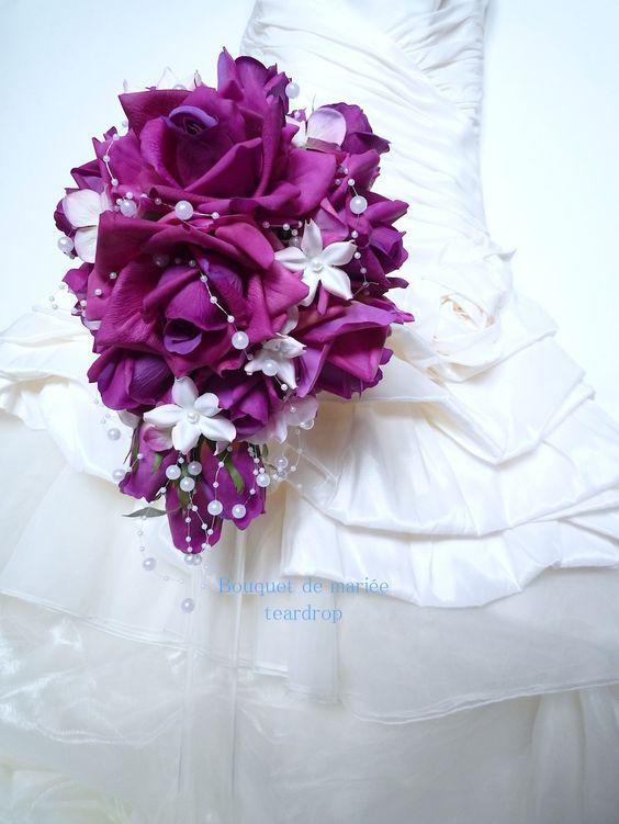 Bouquet de mariée rose violet en forme de larme et la boutonnière : Autres accessoires par fleur-angelique