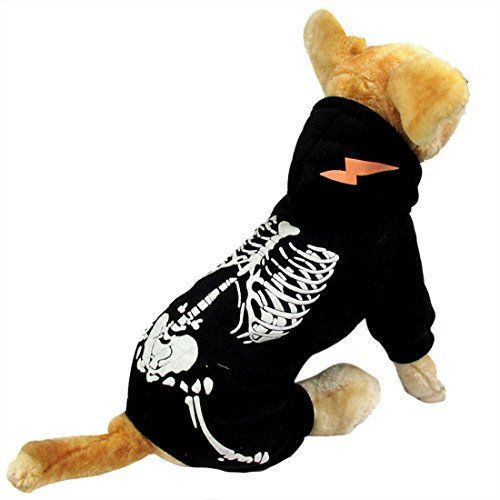 Funny Skeleton Dog Pet Hoodie Clothes Halloween Dog Costume Plus Size Suit Teddy Dressing Up Party Apparel Clothi Teddy Dog Dog Halloween Costumes Dog Costumes