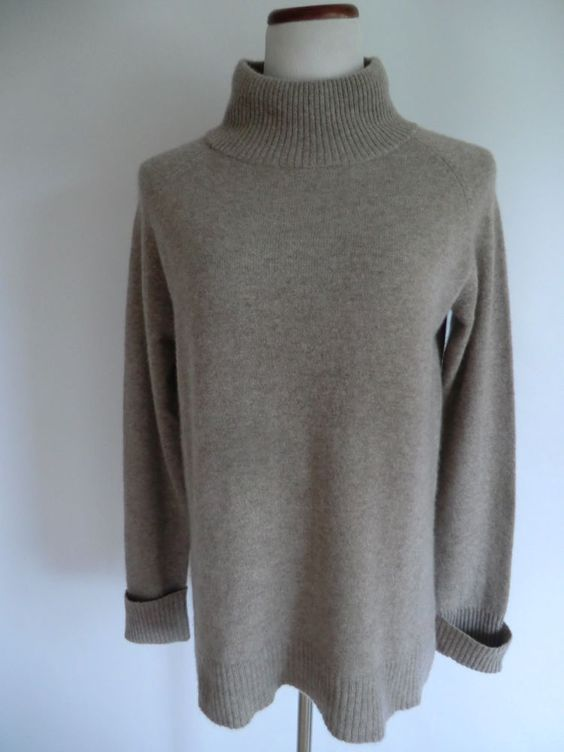 NWOT HALOGEN NATURAL BEIGE 100% MOCK NECK CASHMERE SWEATER SIZE LARGE #Halogen #Mock
