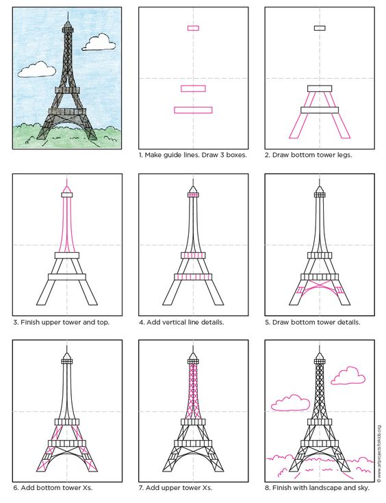 Drawing Lines In Jcanvas : Draw the eiffel tower free pdf tutorial howtodraw