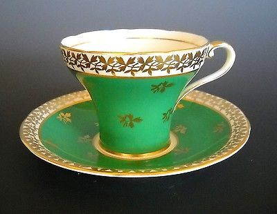 Aynsley Vintage Green White with Gold Leaves Tea Cup and Saucer Set Bone China | eBay