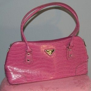 prada pocketbooks - Prada Milano Handbag Pink Alligator Croc Dal 1913 Purse review at ...