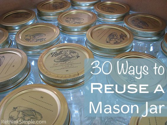 30 Ways to Reuse Mason Jars - I absolutely LOVE mason jars and think they can be used for just about anything! Next time you think about tossing an old mason ja…