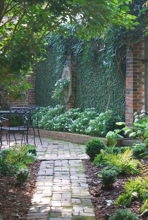 Courtyard with plant covered walls and wall fountain for Courtyard garden designs
