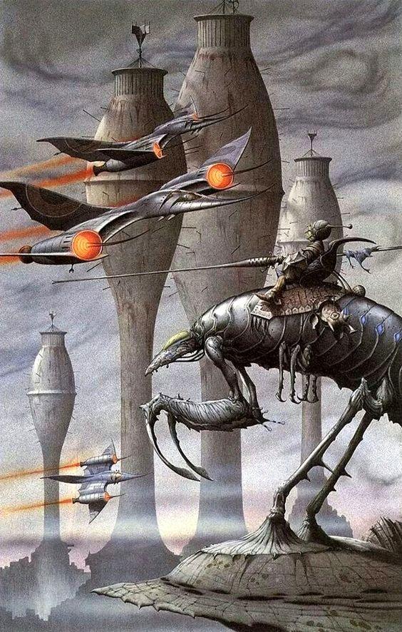 sciencefictiongallery:    Rodney Matthews   - AR-CE-EM 242, 1986.