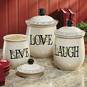 3 Piece Sentiments Canister Set From Seventh Avenue Di705181 Kitchen Decor Pinterest Canisters Live Laugh Love And Love