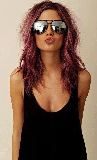 Brunette burgundy wine hair: