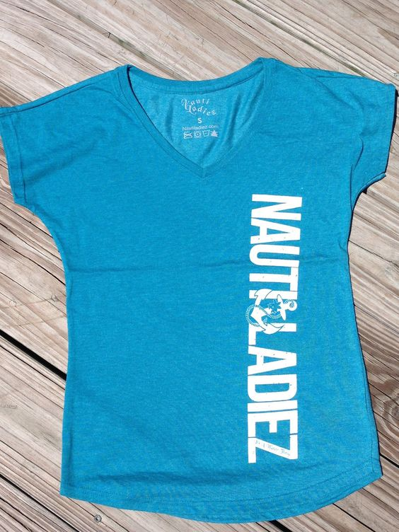Nauti Ladiez Blue V-Neck T-Shirt