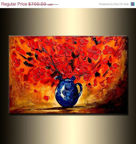 ORIGINAL Abstract Contemporary Art Red by newwaveartgallery, $560.00