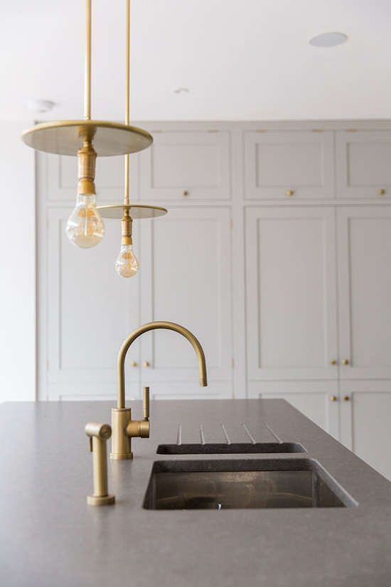 On Trend Brushed Gold Fittings In This Kitchen Modern Kitchen Lighting Modern Country Kitchens Modern Kitchen Interiors